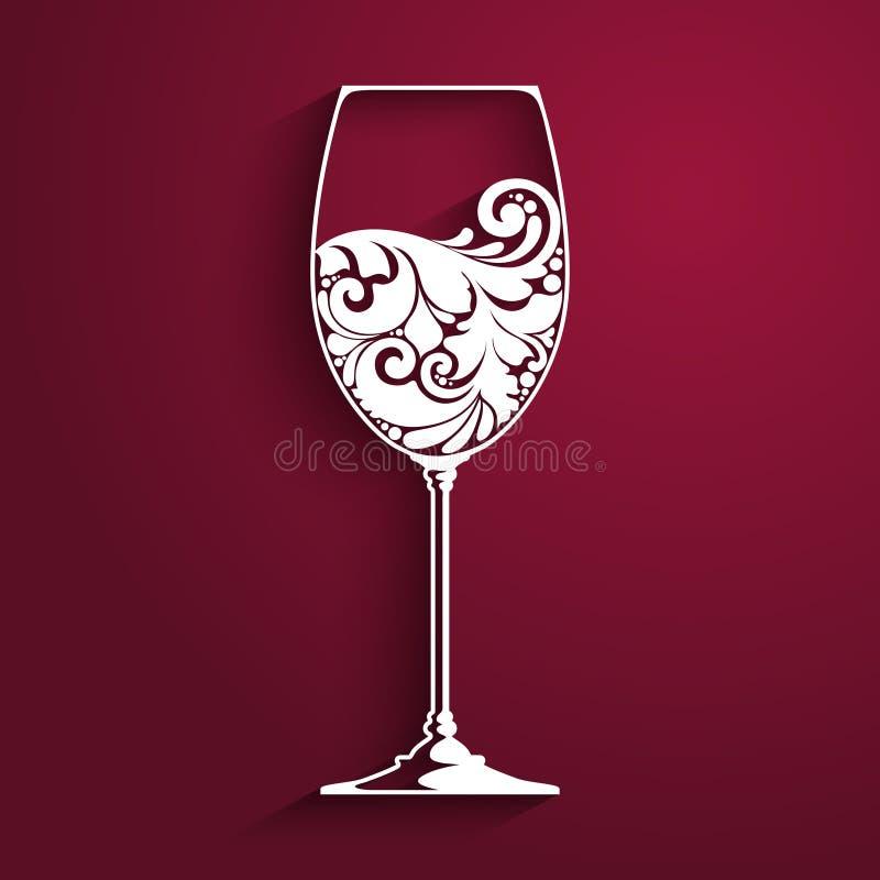 Bicchiere di vino decorato Vector l'elemento per la lista di vino, modello di progettazione del menu Illustrazione di vettore illustrazione vettoriale