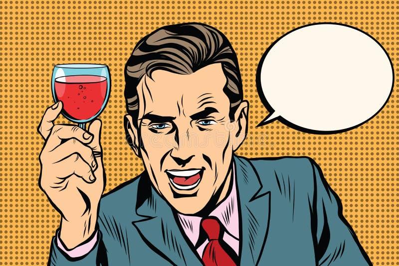 Bicchiere di vino dell'uomo del pane tostato royalty illustrazione gratis