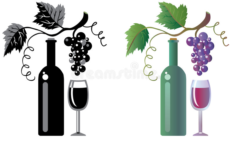 Bicchiere di vino e vigna illustrazione di stock