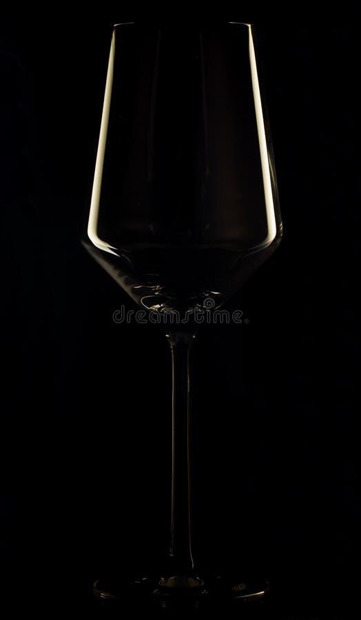 Bicchiere di vino nell'oscurità immagine stock