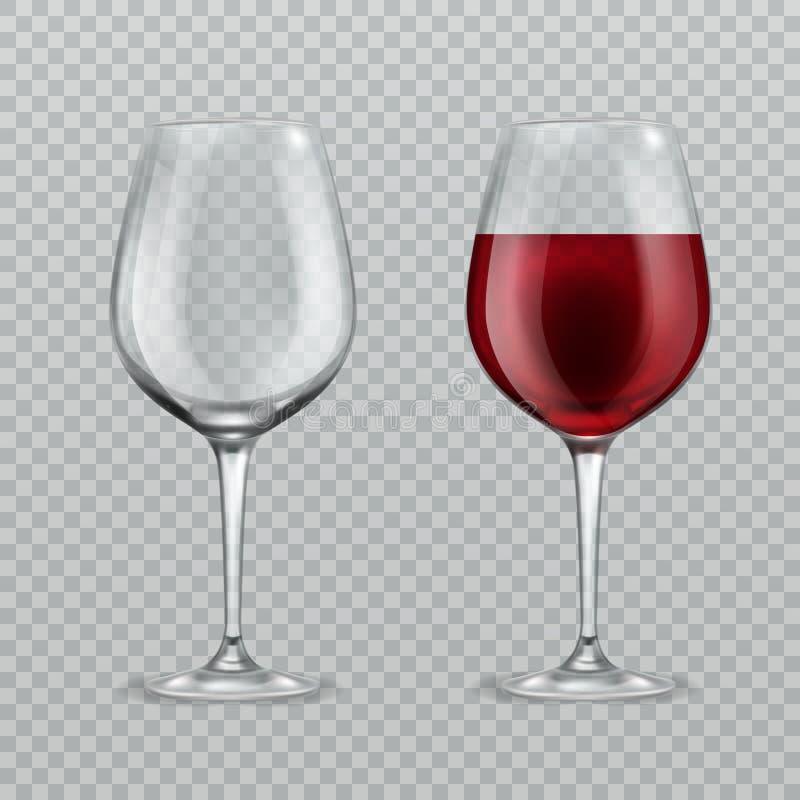 Bicchiere di vino realistico Vuoto e con l'illustrazione di vettore della cristalleria isolata bicchieri di vino del vino rosso illustrazione vettoriale