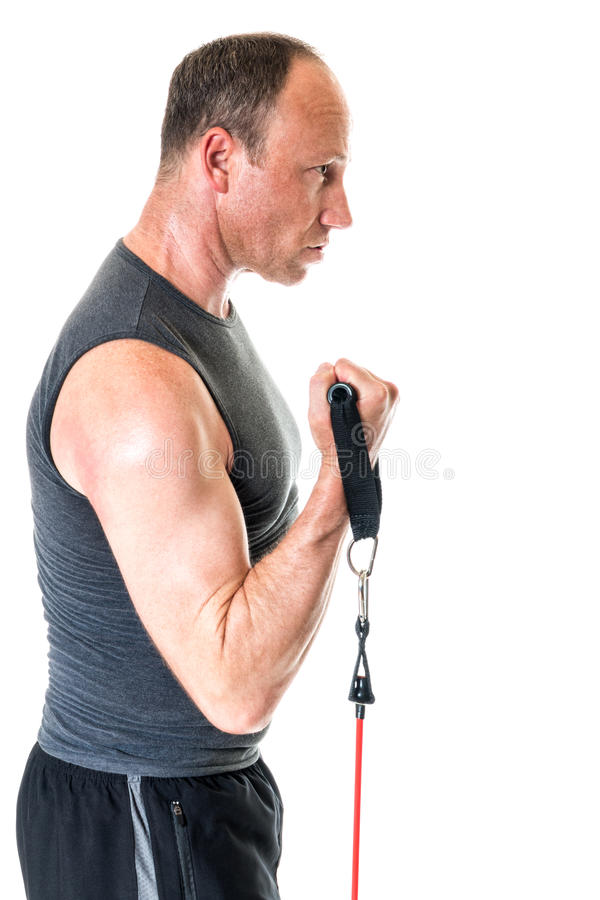 Bicep Curl. Exercise with resistance band. Studio shot over white royalty free stock photos