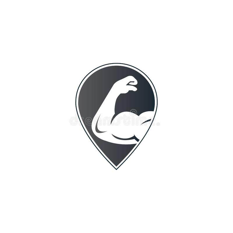 Bicep and GPS icon logo. Fitness  logo design template. Logo template with the image of a muscular arm royalty free illustration