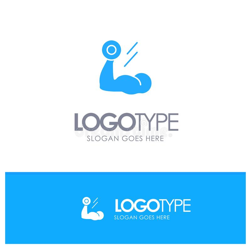 Biceps, Bodybuilding, Growth, Muscle, Workout Blue Solid Logo with place for tagline royalty free illustration