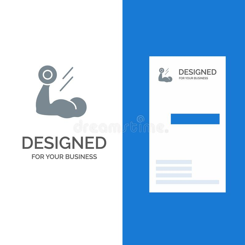 Biceps, Bodybuilding, Growth, Muscle, Workout Grey Logo Design and Business Card Template vector illustration