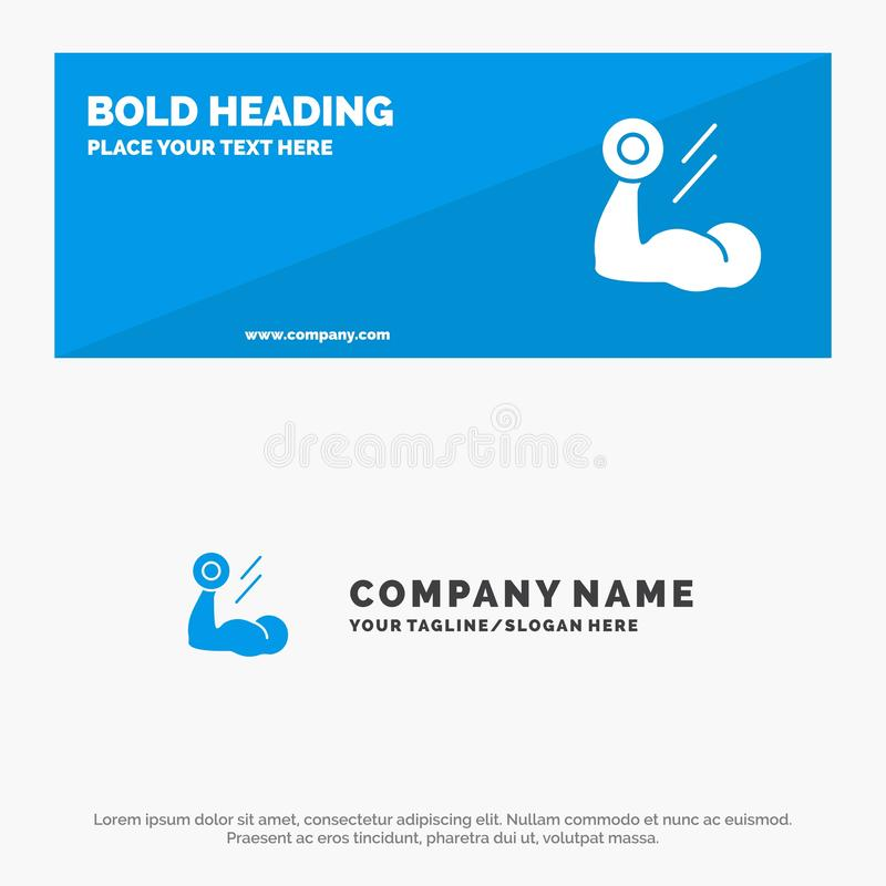 Biceps, Bodybuilding, Growth, Muscle, Workout SOlid Icon Website Banner and Business Logo Template royalty free illustration