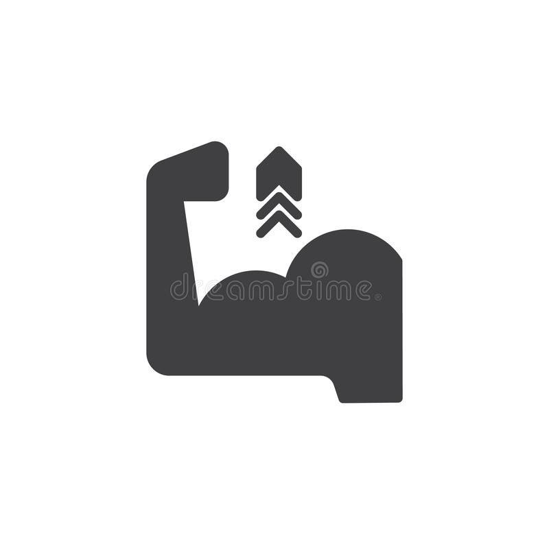Biceps Flex Arm vector icon. Filled flat sign for mobile concept and web design. Biceps muscle hand with arrow up simple glyph icon. Symbol, logo illustration stock illustration