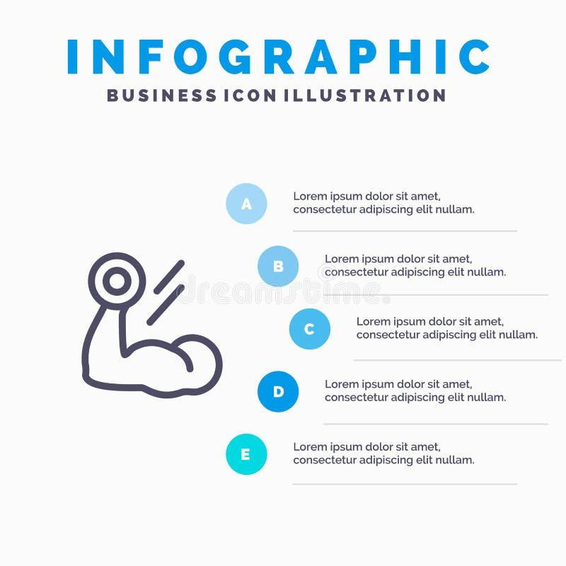 Bicepsen, Bodybuilding, de Groei, Spier, het pictogram van de Traininglijn met infographicsachtergrond van de 5 stappenpresentati stock illustratie