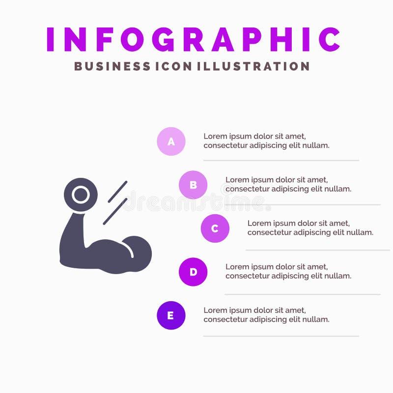 Bicepsen, Bodybuilding, de Groei, Spier, Training Stevig Pictogram Infographics 5 de Achtergrond van de Stappenpresentatie royalty-vrije illustratie