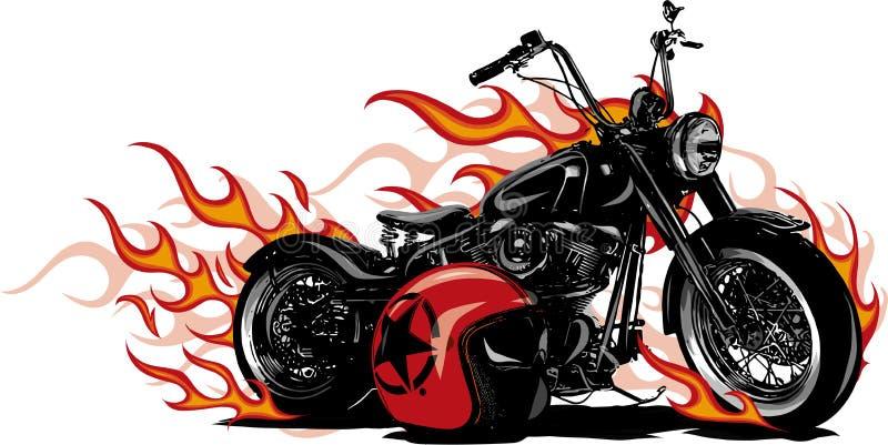 Bici ardente Chopper Ride Front View dell'illustrazione di vettore illustrazione vettoriale