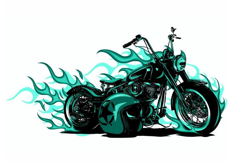 Bici ardente Chopper Ride Front View dell'illustrazione di vettore illustrazione di stock