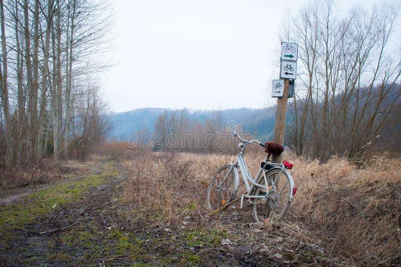 Bici basata su un palo con i segni fotografie stock libere da diritti
