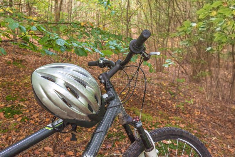 Bici de montaña con un casco de plata en el bosque fotografía de archivo libre de regalías