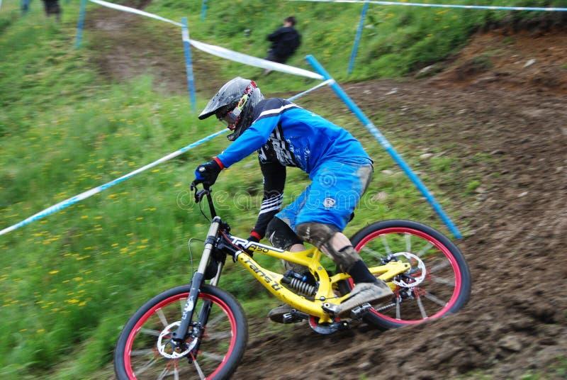 Bici de montaña de UCI cuesta abajo en Leogang 2010 fotografía de archivo libre de regalías