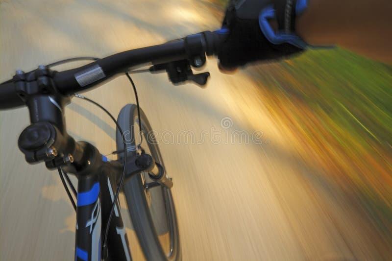Bici de montaña del movimiento rápido en un camino fotos de archivo