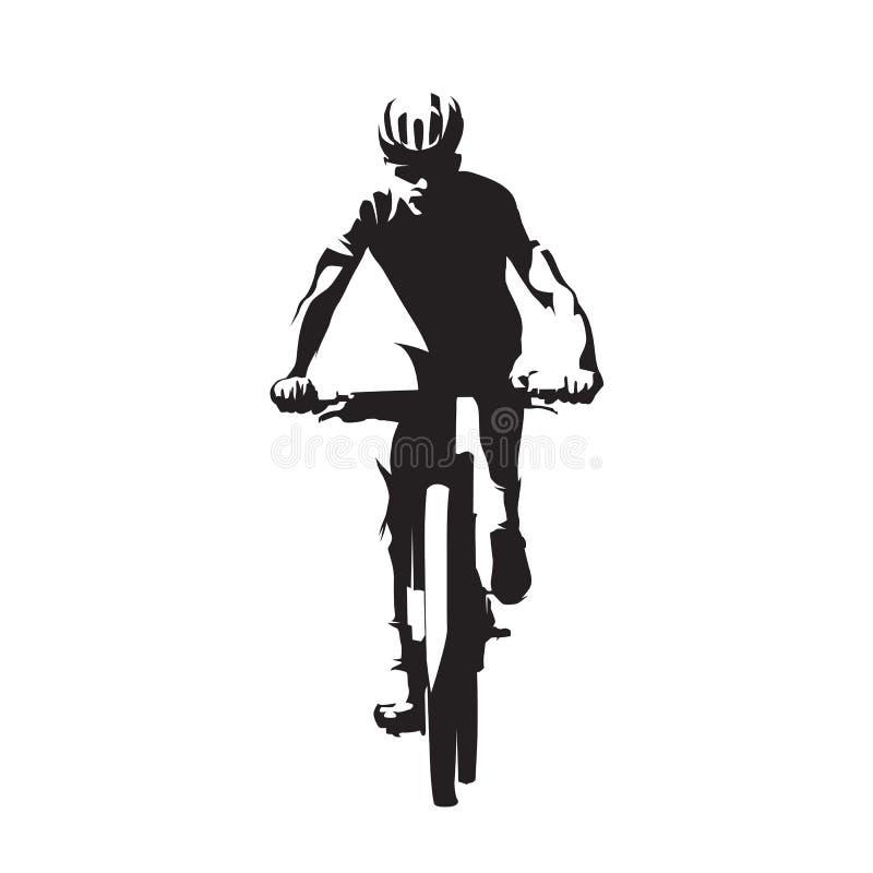 Bici de montaña que completa un ciclo, mtb, silueta del vector stock de ilustración