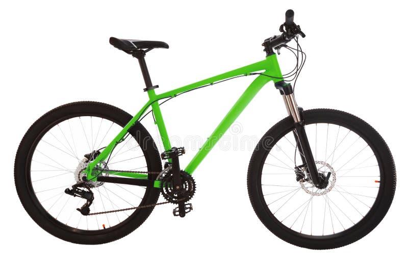 Bici de montaña verde aislada en el fondo blanco foto de archivo libre de regalías