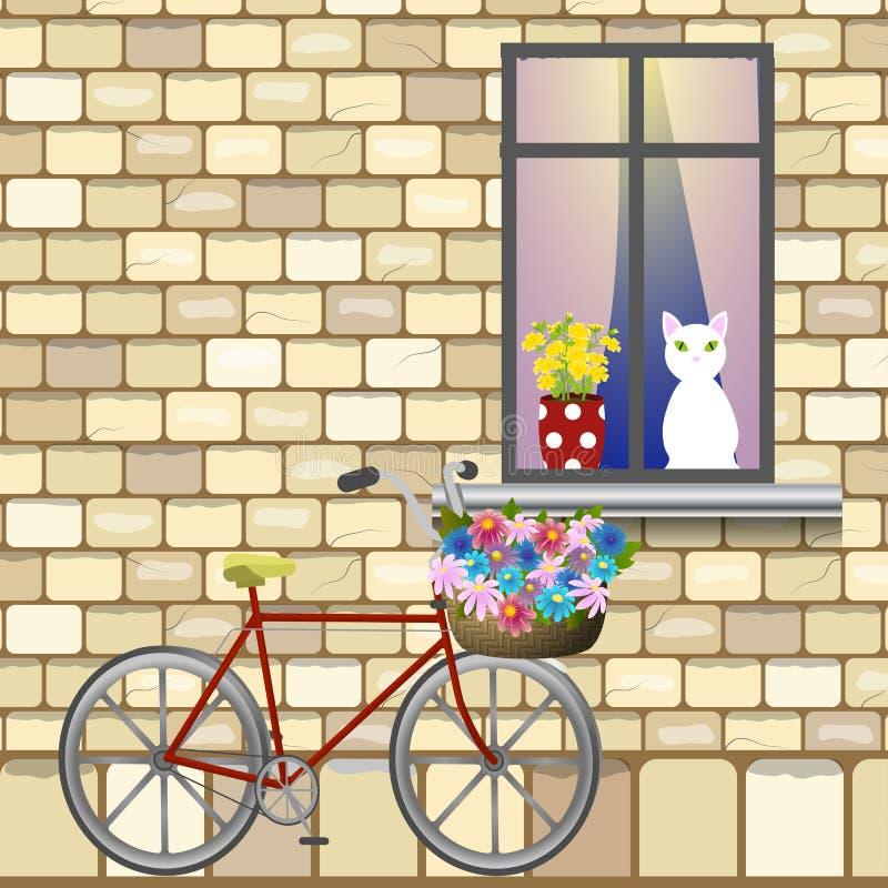 Bici debajo de la ventana stock de ilustración