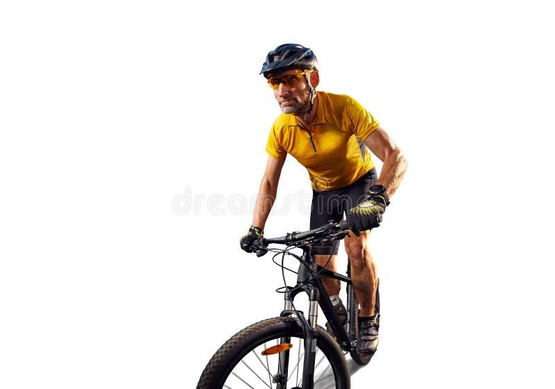 Bici del ciclo del cavaliere della bicicletta isolata nel bianco fotografia stock libera da diritti