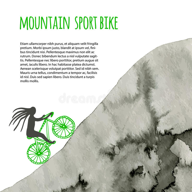Bici del deporte Cartel del vector con la montaña de la acuarela ilustración del vector