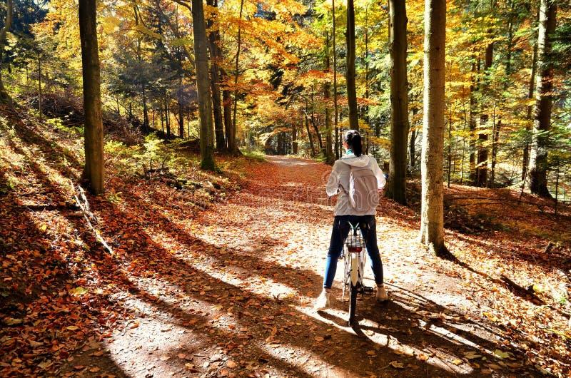 Bici del montar a caballo de la chica joven fotografía de archivo