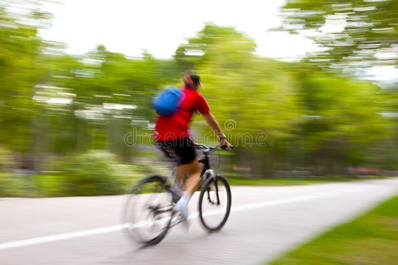 Bici del montar a caballo en throug de la luz de la mañana el parque foto de archivo