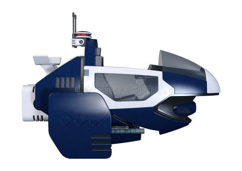 bici del vuelo de la ciencia ficción de la representación 3D en blanco libre illustration