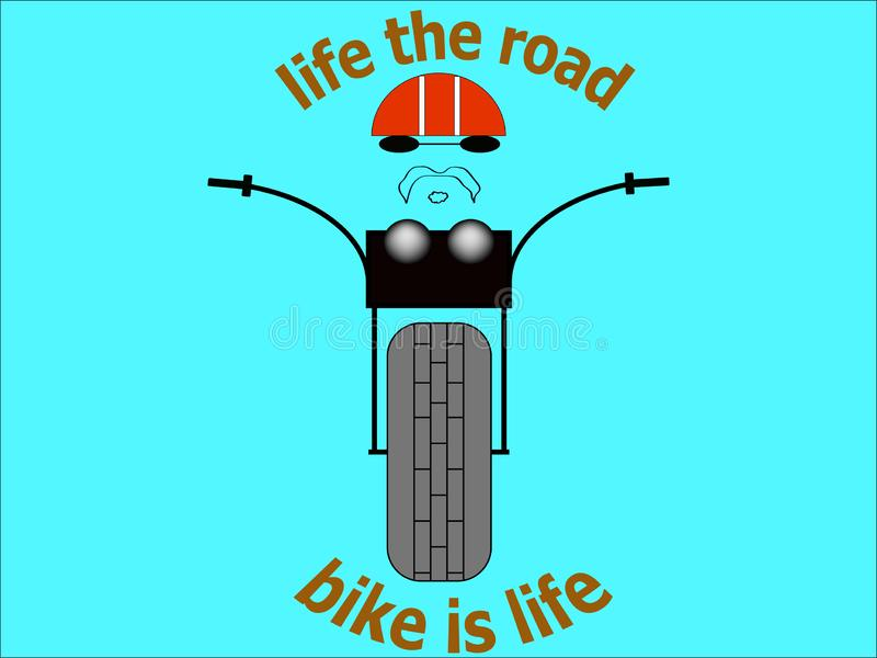 Bici della strada del selettore rotante dell'illustrazione dell'immagine della maglietta del motociclista dell'autoadesivo illustrazione vettoriale