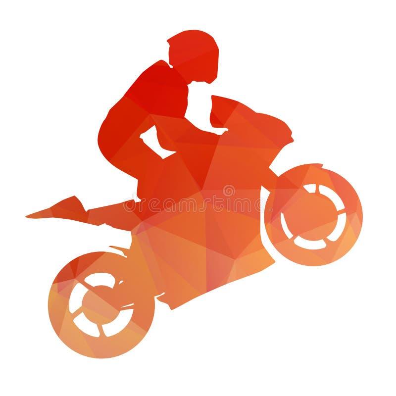 Bici di corsa arancio sulla ruota posteriore illustrazione vettoriale