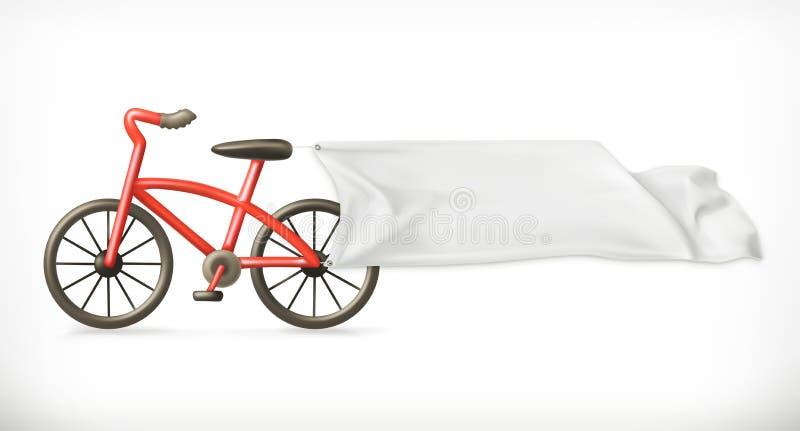 Bici ed insegna bianca illustrazione di stock