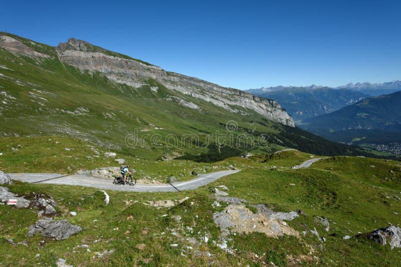 Bici en declive, Flims, Graubunden, Suiza imagenes de archivo