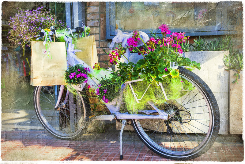 Bici floral del vintage imagenes de archivo