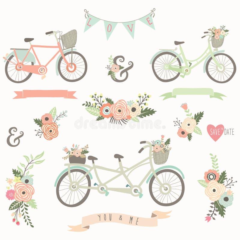 Bici floral dibujada mano del vintage stock de ilustración