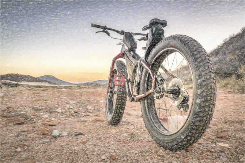 Bici grassa su una traccia di montagna del deserto royalty illustrazione gratis