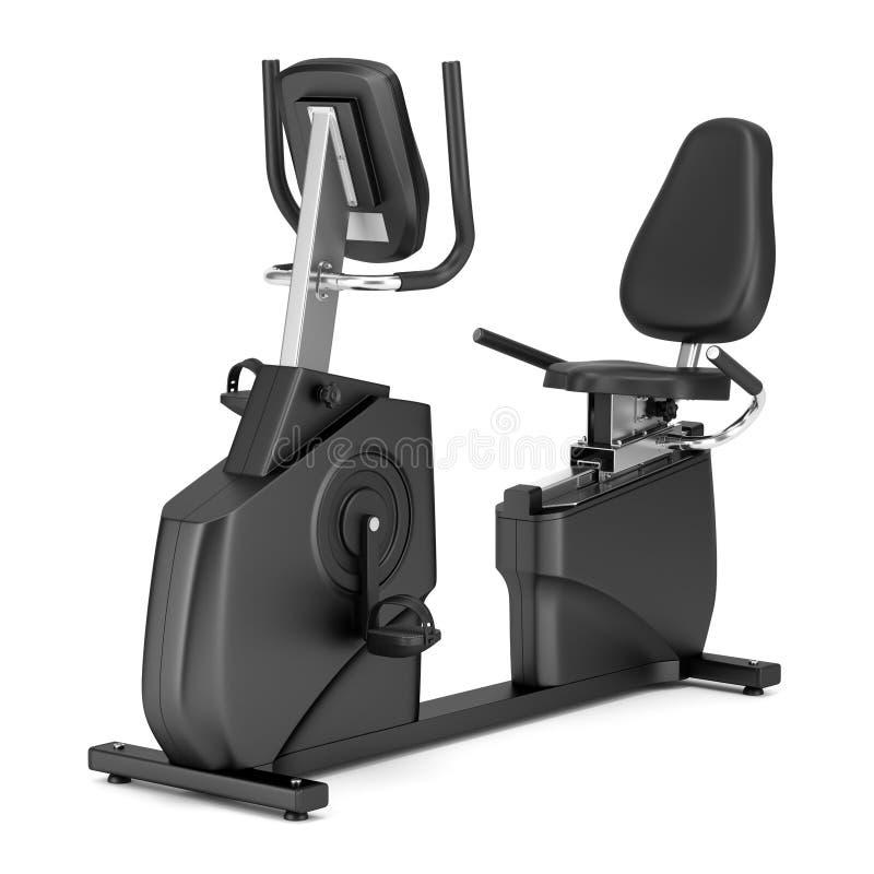 Bici horizontal del ejercicio inmóvil aislada en blanco ilustración del vector
