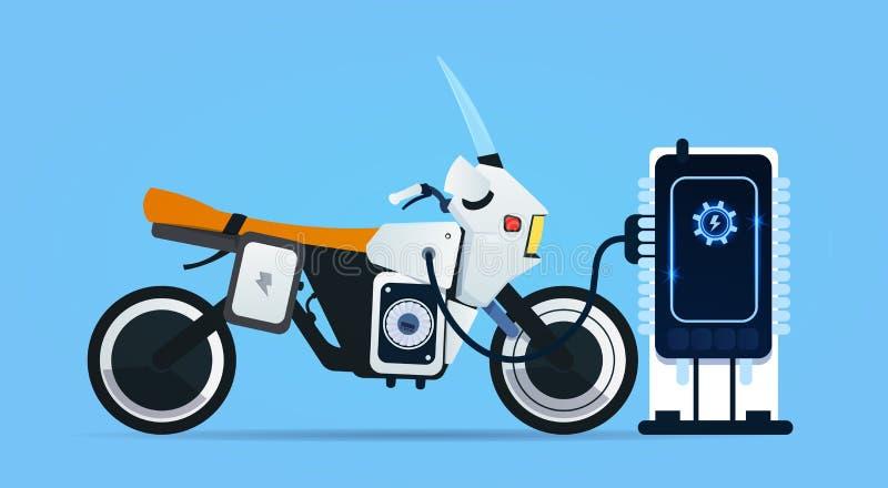Bici ibrida del motore che fa pagare alla stazione della carica elettrica royalty illustrazione gratis