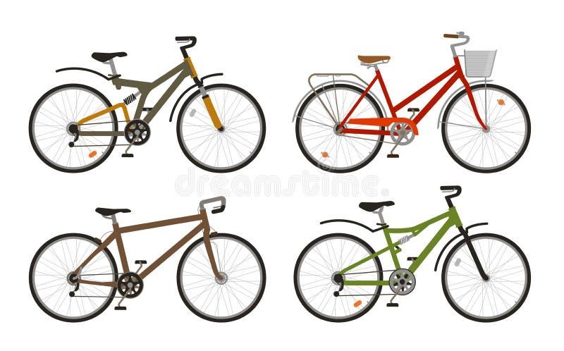 Bici, iconos determinados de la bicicleta Completando un ciclo, concepto del transporte Ilustración del vector libre illustration