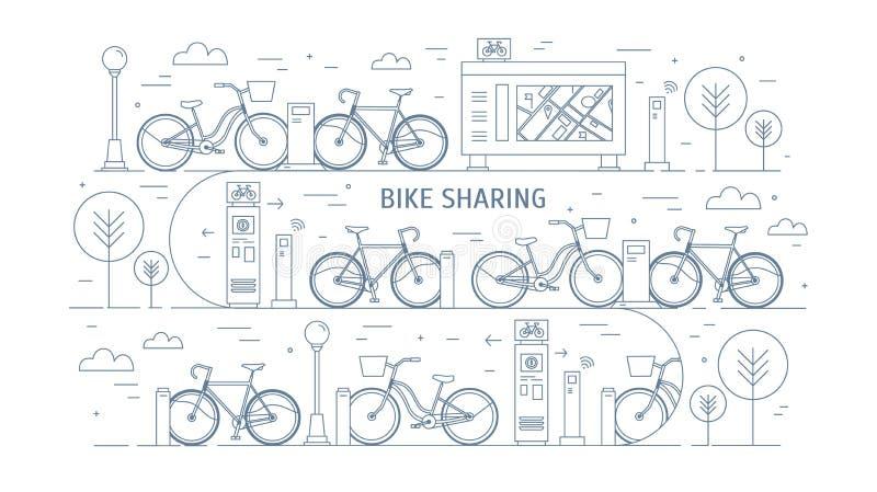 Bici locative parcheggiate alle stazioni di aggancio sulla via della città, sui terminali di pagamento elettronico, sul supporto  royalty illustrazione gratis
