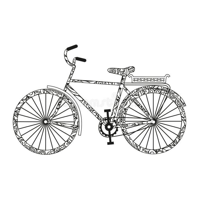 Bici P?gina del color El garabatear blanco y negro lindo Vector aislado en el fondo blanco ilustración del vector