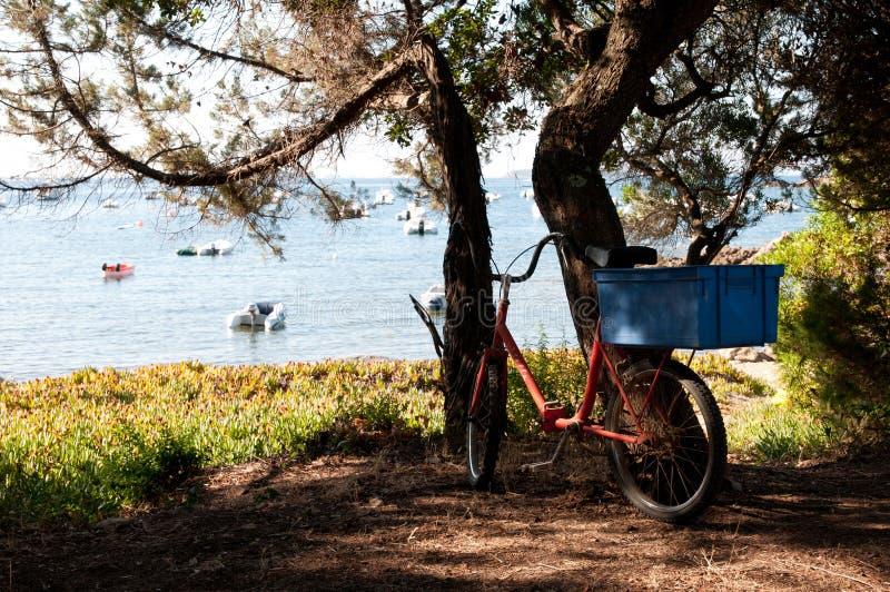 Bici plegable vieja con la caja del transporte imagen de archivo libre de regalías