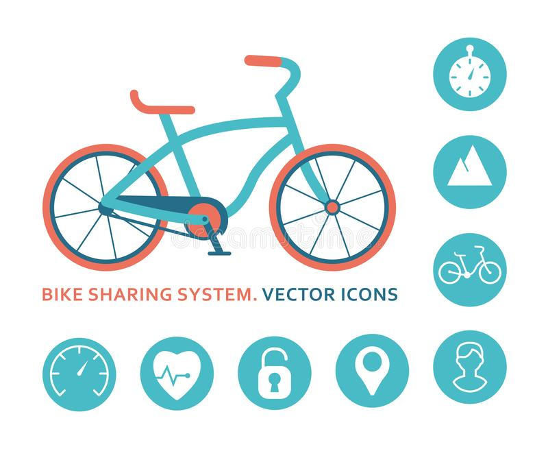 Bici que comparte el sistema Icono para la aplicación móvil ilustración del vector