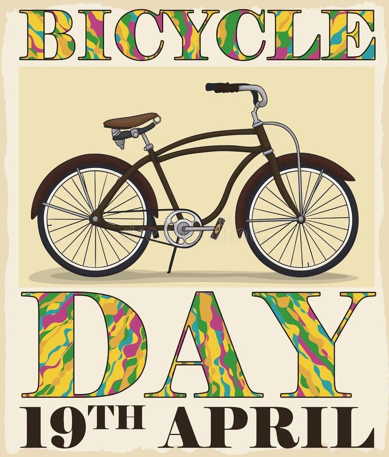 Bici retra y letras psicodélicas coloridas para conmemorar el día de la bicicleta, ejemplo del vector stock de ilustración