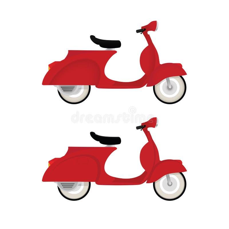 Bici roja del motor del vintage aislada en el fondo blanco libre illustration
