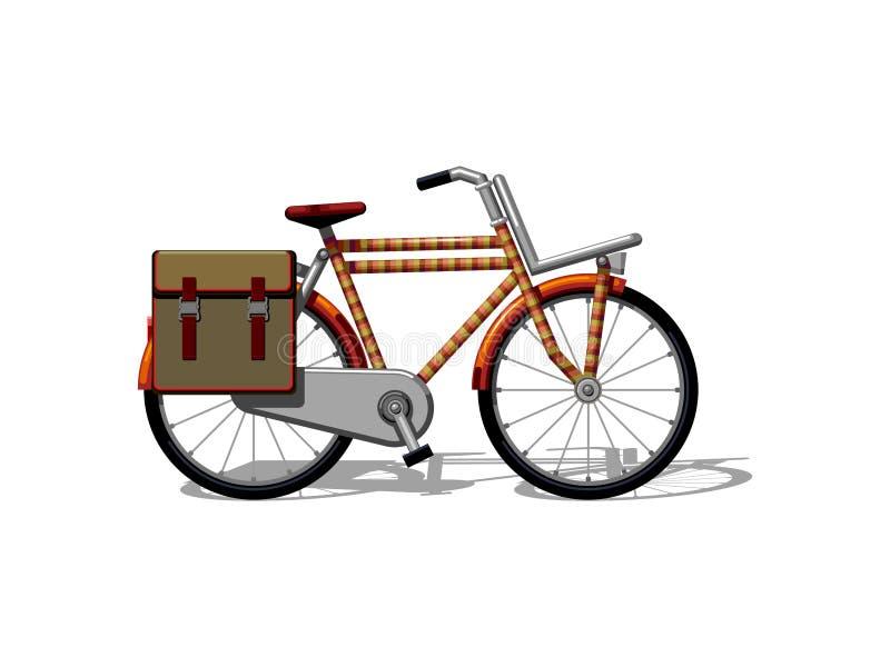 Bici urbana de la familia con vector plano de los bolsos Transporte urbano de la bicicleta, del leasure y del deporte para la fam stock de ilustración