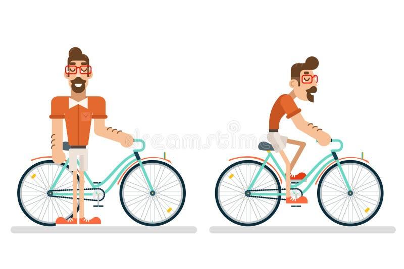 Bici ycling dell'uomo di simbolo di viaggio di turismo di vacanze estive di pianificazione di concetto di stile di vita di viaggi illustrazione vettoriale