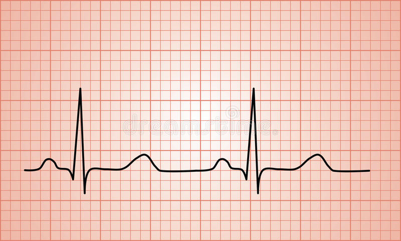 Bicia serca ECG Normalny wykres royalty ilustracja