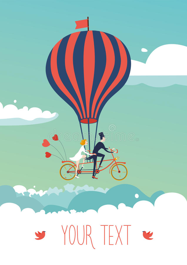 Bicicleta acima das nuvens ilustração royalty free
