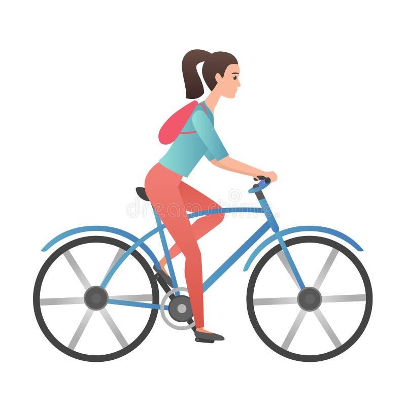 Bicicleta adulta del montar a caballo de la mujer joven de la pendiente del vector de moda del color aislada stock de ilustración