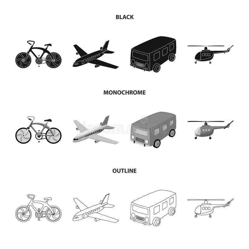 Bicicleta, avião, ônibus, tipos do helicóptero do transporte Ícones ajustados da coleção do transporte em preto, monocromático, e ilustração royalty free