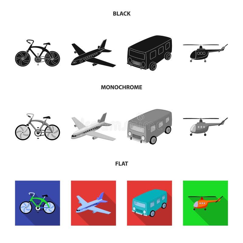 Bicicleta, avião, ônibus, tipos do helicóptero do transporte Ícones ajustados da coleção do transporte no estilo preto, liso, mon ilustração royalty free